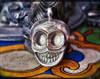 Tibetan Skull Pendant - Skull Amulet - Sterling Silver Skull Pendant - Himalayan Skull Pendant