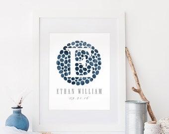 Personalized Boy Nursery Print, Custom Name Print, Newborn Gift, Navy Nursery Wall Art DIGITAL Print, Baby Gift, Navy Blue Nursery Print