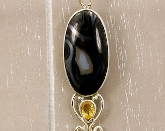 Mystery Black Lace Agate, Citrine, Pearl & .925 Sterling Silver Pendant  P477