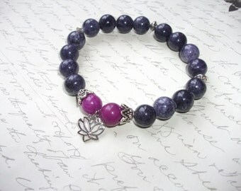 Purple and violet jade stone bracelet with lotus charm