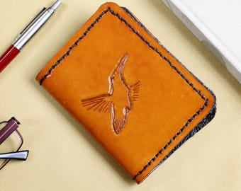Humming Bird Wallet Hand Carved Leather Wallet Billfold Leather Card Holder Gift For Dad Hand Tooled Leather Wallet Bifold Wallet Gift