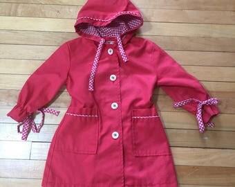 Vintage 1980s Toddler Girls Red Gingham Spring Jacket Coat! Size 3