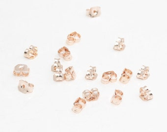 20 Pcs Rose Gold Earring backs - Earring Stopers - Earnuts - (6x3mm) Earring Posts , CMR114