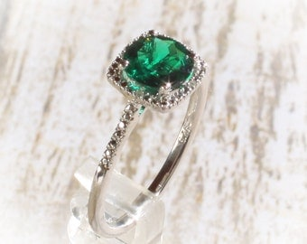925 Sterling Silver Created Emerald & Halo Diamond Engagement May Birthstone Ring, Custom Sizes Available