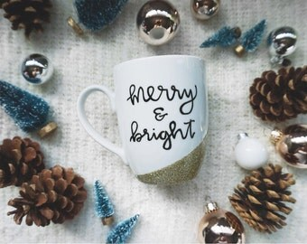 Merry & Bright / Gold Glitter Mug
