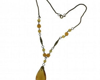 1930s Czechoslovakian Amber Glass Vintage Necklace