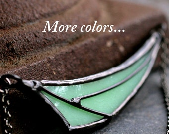 jadite necklace mint green necklace jadeite modern necklace asymmetrical necklace stained glass necklace statement necklace GEO DART