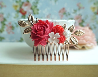 Pink Red Flower Rose Gold Comb, White and Red Rose Gold Comb, Wedding Comb, Bridal Earrings, Bright Pink Rose Hair Comb, Red Bridesmaid Gift
