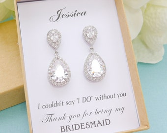 Personalized Bridesmaid Gift, Bridesmaid Earrings, Bridesmaid Jewelry Set, Bridesmaid Gifts, Mother of Bride Gift, Wedding Jewelry Set