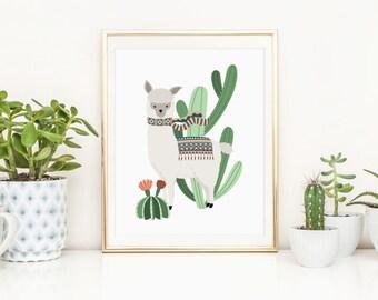 Alpaca Nursery Printable Cactus Printable Llama Nursery Wall Art Alpaca With Cactus Print Cactus Wall Art Llama Nursery Decor Boy Nursery 1B