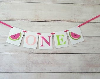 Watermelon High Chair Banner, Watermelon Highchair Banner, One in a Melon Party Decorations, One in a Melon Birthday, Watermelon Decorations
