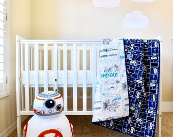 Star Wars baby Quilt, Star Wars patch quilt, Star Wars nursery bedding Quilt, Star Wars baby gift  Star Wars crib quilt, 100% cotton.