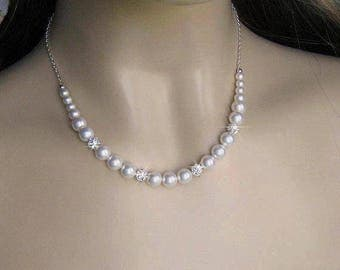 Pearl Bridal Necklace, Bride Pearl Necklace, Pearl and Rhinestone Necklace, in Ivory or White, Bridesmaid Necklace Swarovski Wedding Jewelry
