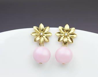Pale Pink Drop Stud Earrings, Swarovski Drop Stud Earrings, Pink Coin Pearl Earrings, Gold Flower Pearl Earrings, Pink And Gold Drop Studs