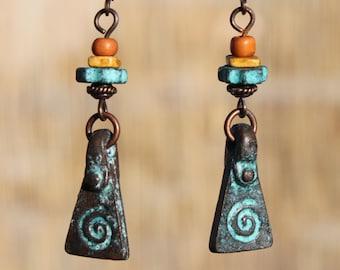 Turquoise Earrings Boho Earrings Dangle Earrings Drop Earrings Boho Jewelry Copper Earrings Ethnic Earrings Gift for women Gift for her