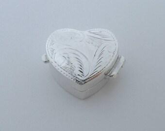 925 Sterling Silver Love Heart Shaped Pill, Snuff BOX