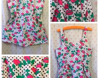 Fabulous Vintage 1980's b/w polka dot pink rose print cotton romper/playsuit/beach/summer