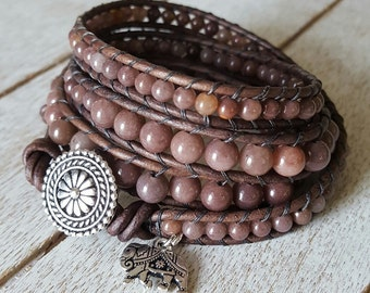 Purple Aventurine Wrap Bracelet, Bohemian Jewelry, Boho Wrap Bracelet, Yoga Jewelry, Charm Bracelet, Silver Plated, x4 Wrap Bracelet Beaded