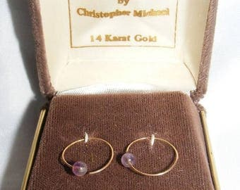 Small Gold Hoops with Purple Bead Accents D'ORO by Christopher Michael