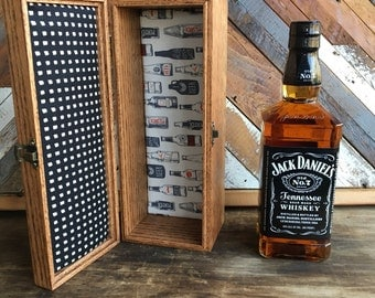 Handmade - personalized liquor box - jack daniels- jim beam - custom size liquor gift box -spirits - liquor box