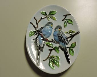 Vintage Japan 3D Blue Budgie Bird Oval Wall Plaque Plate Lefton