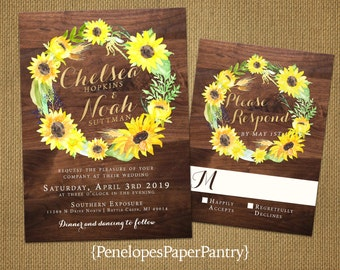 Rustic Sunflower Wedding Invitation,Sunflowers,Wreath Design,Rustic Wood,Gold Print,Shimmery,Rustic Fall Wedding,Custom,Printed Invitations