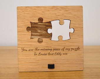 You Are The Missing Piece of my Puzzle - Cute Jigsaw Valentines Love Plaque Sign