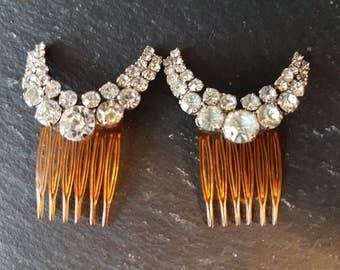 Art Deco Diamante Hair Combs ~ Pair Of Original Vintage Sparkling Rhinestone Hair Grips - Something Old - Bridal Hair Decoration
