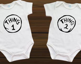 Thing 1 and Thing 2 Onesies - Customizable Onesie - BAby Shower Gifts - Geeky Onesie - Twin Onesies  - Funny Onesie [093]