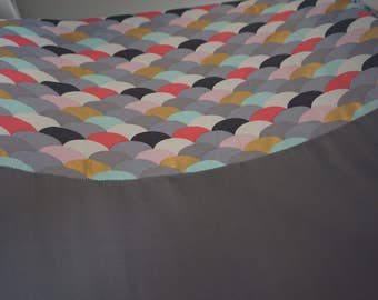 Pink Grey scallop change mat cover