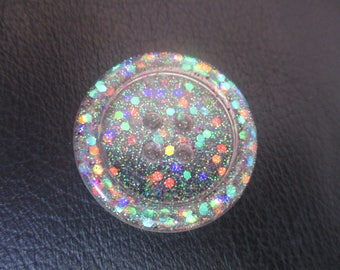 clear rainbow glittery resin button needleminder  needlekeeper  magnet