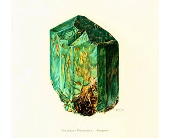 1970 Green gemstone Amazonite Feldspar Print. Minerals Wall Art. Vintage geology Illustration. SCI ART Print.