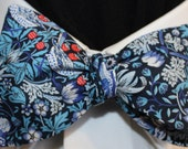 MARGARET'S GARDEN~Handmade Liberty of London Bowtie with birds, florals and strawberries, for Well Dressed Women and Men