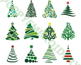 CHRISTMAS tree  Designs for Embroidery machine /  noel motifs pour broderie machine / INSTANT DOWNLOAD
