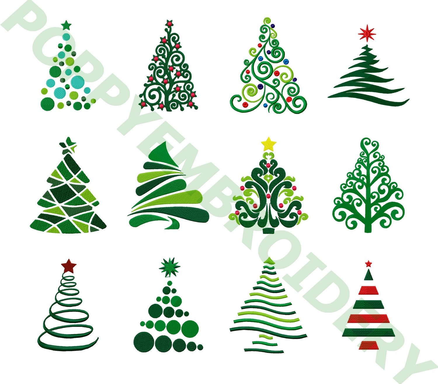 CHRISTMAS Tree Designs For Embroidery Machine / Noel Motifs