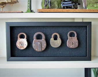 Beautiful Collection Of 4 Ancient Antique Padlocks.