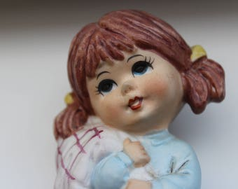 """Moppets 1971 Fran Mar Little Girl Figurine """"Everybody needs security"""""""
