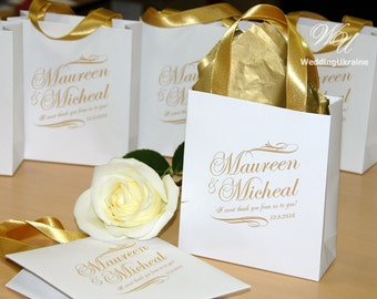 35 Gold Wedding Welcome Bags with satin ribbon & names A sweet thank you from us to you Personalized Gift bags for wedding favors for guests