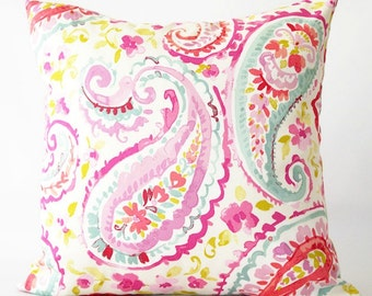 Paisley and Floral Print Pillow Cover, pink paisley pillow cover, floral pillow, pink paisley, decorative pillow cover, spring pillow