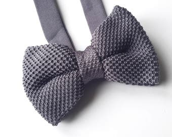 Men's Grey Knitted Bow tie, Mens Bow Tie, Pre-tied bow tie, Adjustable Bow Tie, Double Bow Tie