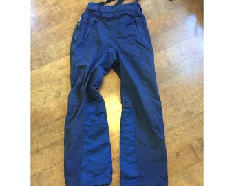 80's PATAGONIA women's snow ski pants blue navy winter bibs SMALL S 6