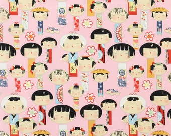 Cotton Quilting Fabric by the Yard- Alexander Henry -  Yui Kokeshi Pink Geisha Dolls
