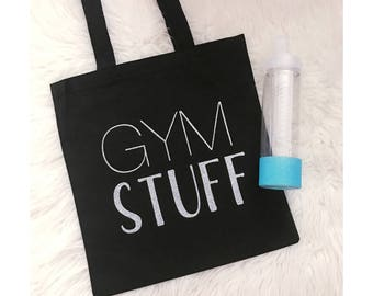 Gym Stuff Tote Bag // Canvas Tote Bag // Gym Bag // Gym Tote // Tote Bag // Handled Tote // Gym Rat // Health & Fitness