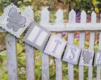 It's A Girl Elephant Baby Shower Banner, Baby Girl Shower Banner, Baby Shower Decor, Elephant Baby Shower Decorations