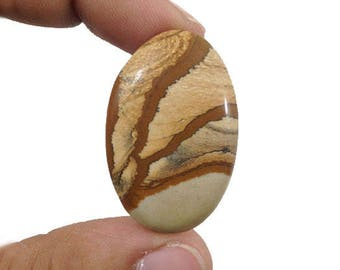 Picture Jasper Cabochon 34.5Ct. (35x22x5 mm) Oval shape  Natural Gemstone  NS-13780