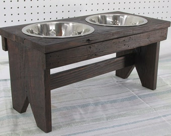 Large Dog Bowl Stand Raised Dog Bowl Feeder Rustic Dog Feeder Farmhouse Style Rustic Stainless Steel Elevated Dog Food Water Bowl Pet Bench