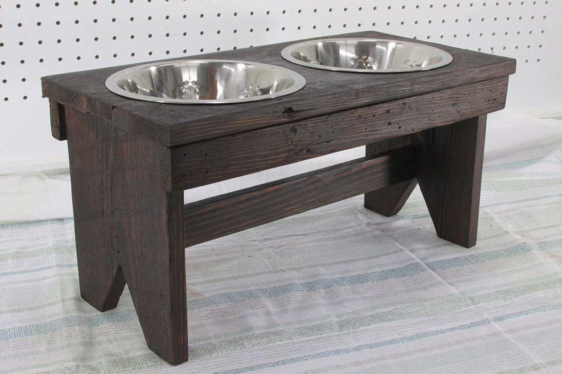 Large Dog Bowl Stand Raised Dog Bowl Feeder Rustic Dog Feeder Farmhouse  Style Rustic Stainless Steel