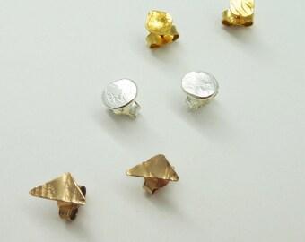 Geometric shapes earrings. Circle. Square. Triangle.