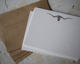 Longhorn Note Card, Cowboy Card, Stamped Note Card, Note Card Set, Stamped Stationery, Letter Writing Set, Texas Longhorn, Cowboy Gift, Horn