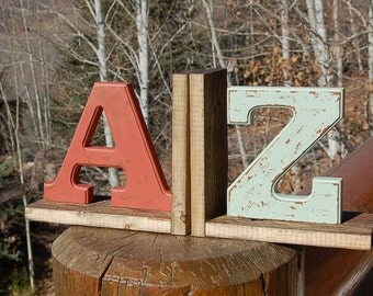 A to Z Bookends  Shabby Chic Rustic Chippy Distressed Ghost Wood